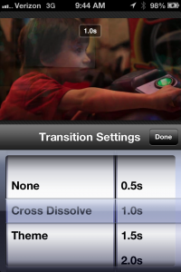 Once you have multiple visuals on the timeline, double-tapping the transitions will allow you to choose the transition type and duration.