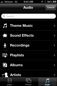 Once on the audio section, select Recordings and find your interview.